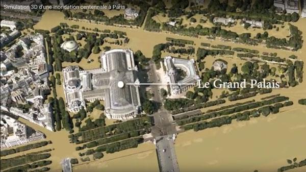 översvämningssimulering i Paris