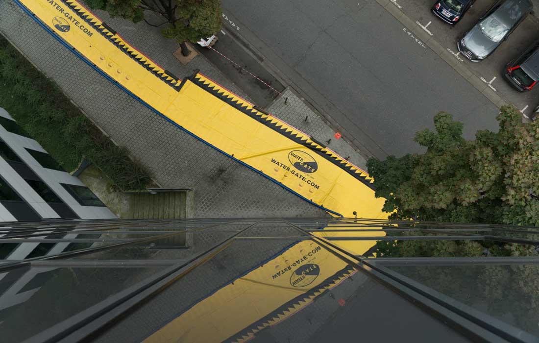 Protections contre les inondations Water-Gate© vues du haut d'un immeuble Paris 2017