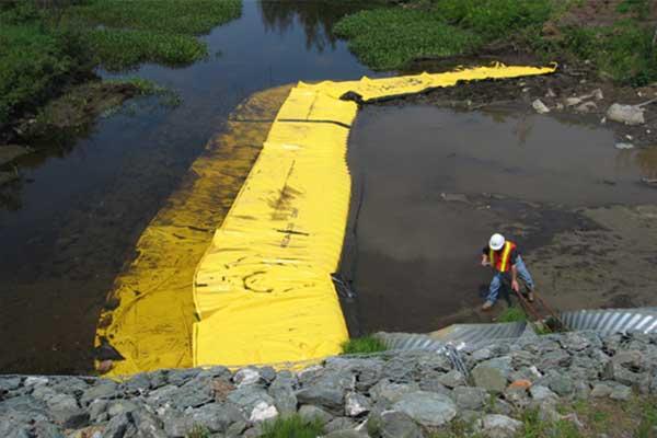 """"""" River fungerar. Flexibel Water-Gate © kofferdammar. L-formad installation nedströms. Munstycke, avledning av en ström."""""""