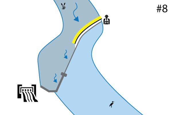 Water-Gate © flexibla kofferdammar. Diagram över en installation på en flodtröskel Spillway. Fall nr 7